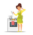 housewife trying the dish near the stove vector image