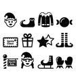 Elf Christmas icons set vector image vector image