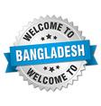 Bangladesh 3d silver badge with blue ribbon vector image