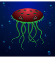Ocean creature with big eyes and long tentacles vector image