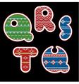 knitted alphabet - QRSTU vector image