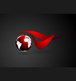 Abstract technical logo with dark globe vector image