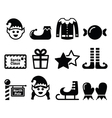Elf Christmas icons set vector image