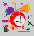 geometric of retro alarm clock cubism vector image