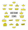 hand drawn crowns set vector image