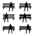 man silhouette set sitting on park benches vector image