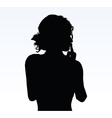 woman silhouette with hand gesture hush vector image