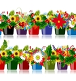 Seamless pattern with floral pots for your design vector image vector image