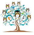 study the tree and cheerful owls vector image