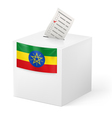 Ballot box with voting paper Ethiopia vector image
