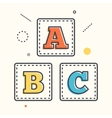 ABC blocks flat icon with long shadow Alphabet vector image