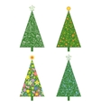 Christmas trees with patterns vector image