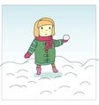 girl and snowball vector image