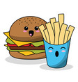 kawaii burger french fries image vector image