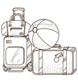 luggage bags and inflatable ball outline on the vector image