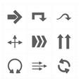 nine flat modern arrows vector image