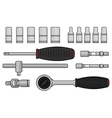 Ratchet and socket icon set vector image