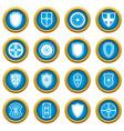 shield frames icons blue circle set vector image