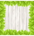 Wooden grey wall green leave vector image