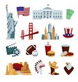 USA Flat Icons Set vector image