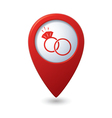 Map pointer with wedding rings icon Vector Image