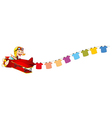 A monkey riding in a red plane with hanging vector image vector image