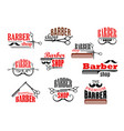 barber shop beards and mustaches icons vector image vector image