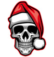skull wearing santa claus hat vector image vector image