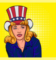 beautiful young woman in hat of uncle sam vector image
