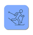 linear icon of the running skier vector image