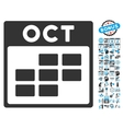 October Calendar Page Flat Icon With Bonus vector image