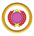 Round badge with crown and laurel icon vector image