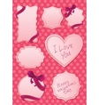 valentines labels on pink background vector image