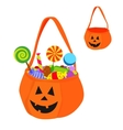 Halloween bag full of sweets and empty vector image
