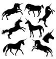 mythical rebellious unicorn black vector image