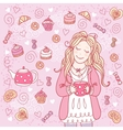 Girl with a cup of tea vector image vector image