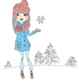 fashionable hipster girl in winter vector image vector image