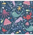Cute underwater seamless pattern vector image