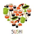 Background with sushi vector image