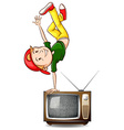 Boy dancing on television vector image