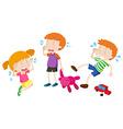 Boys and girl crying vector image
