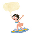cartoon surfer girl with speech bubble vector image