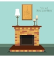 fireplace Sweet home Painting and candle vector image