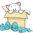kitten peeking out of a gift box vector image