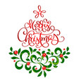 merry christmas text lettering calligraphic with a vector image