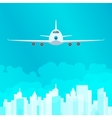 Plane in the Sky on Background of the City vector image