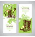 Set of sketch gardening banner templates vector image