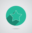 Star white icon with long shadow flat design vector image
