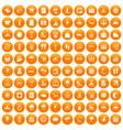 100 seaside resort icons set orange vector image