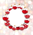 Christmas and Happy New Year Card with Red Snowing vector image vector image